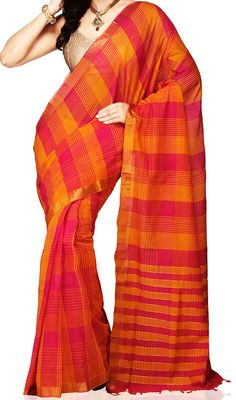 Indian Traditional Handloom Sarees: Vibrant Orange Cotton Saree With A Checkered Patte...