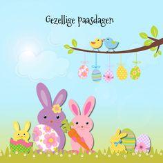 Gezellige paaskaart met paashaas en paaseieren in het gras met bloemetjes, vogeltjes, zon en blauwe lucht, verkrijgbaar bij #kaartje2go voor €1,99 Pocket Letters, Tweety, Pikachu, Lettering, Holiday, Diy, Fictional Characters, Gras, Easter Ideas
