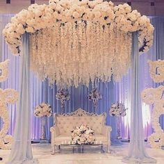 """Indian Wedding Decoration Ideas stage - The center stage becomes the most important area in any marriage. In an Indian wedding, it is called """"Mandap"""". wedding ideas Cozy-Chic Wedding Decoration Ideas to Enchant Your Big Day - Momo Zain Wedding Hall Decorations, Wedding Reception Backdrop, Marriage Decoration, Wedding Mandap, Backdrop Decorations, Engagement Stage Decoration, Reception Stage Decor, Indian Wedding Receptions, Flowers Decoration"""
