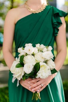 emerald and white bridesmaid bouquet   Jamie Delaine Photography   Glamour & Grace
