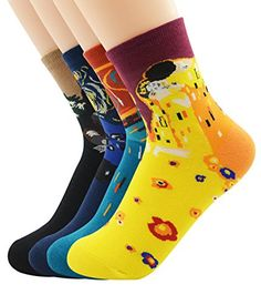 Zando Fashion Cool Art Long Cotton Famous Collection Painting Crew Socks 4 Pack Set *** Continue @
