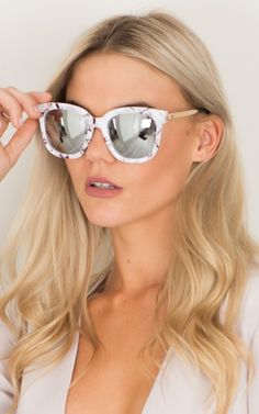 Large Frame Sunglasses in White Marble