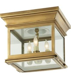 Visual Comfort CHC4128AB-CG E.F. Chapman Club 3 Light 9 inch Antique-Burnished Brass Flush Mount Ceiling Light in Antique Burnished Brass, Clear Glass #LightingNewYork
