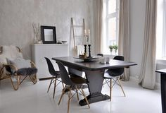 Dining room Norway classic, modern, mix of greys, black and white, neutrals, curtains, fur