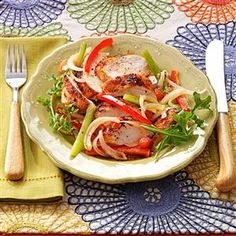 Sassy Chicken & Peppers Recipe -Sharing supper with a friend who's watching his or her weight? Taco seasoning, salsa and a squirt of lime add up to a nice summery flavor for chicken—but a slim 239 calories for you! —Doris Heath, Franklin, North Carolina