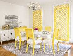 Yellow cane back chairs Diane Bergeron Interiors: Fantastic Hollywood Regency gray & yellow dining room design with Madeline Weinrib . Yellow Dining Room, Dining Room Buffet, Dining Table, Yellow Chairs, Dinning Chairs, Room Chairs, Dining Area, Etagere Design, Yellow Home Decor