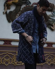 Vintage Sashiko Indigo Kendo Jacket, Gantou Kanba   Kiriko Made