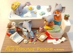 A CAKE of one of our favorite books - Five Minutes Peace!  It is a work of art!  From Cupcake Gallery