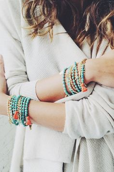Matte Turquoise Natural Stone Bracelet with Orange Tassel by Tess+Tricia