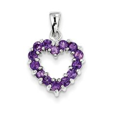 Sterling Silver Rhodium Amethyst Heart Pendant From Quality Gold available at Jewelry Savers