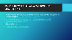 BSOP 330 WEEK 3 LAB ASSIGNMENTS CHAPTER 13