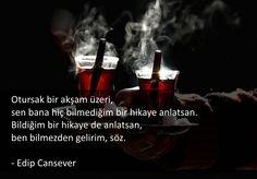 Otursak bir akşam üzeri, sen bana hiç bilmediğim bir hikaye anlatsan. Bildiğim bir hikaye de anlatsan, ben bilmezden gelirim, söz. - Edip Cansever