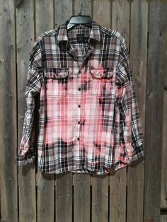 Soft grunge bleached flannel plaid  shirt size by Cranberrymoons