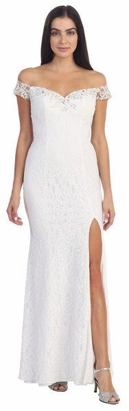 Off The Shoulder Strap Lace Dress White Sheath Front Slit #discountdressshop #offshoulder #whitedresses #bodycondress #lacedress #weddingdress #bridalgown #beachweddingdress
