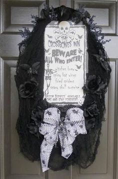 """The Crossbones Inn"" halloween wreath  ebay"