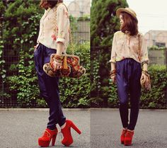Navy,red with floral (by Shan  Shan) http://lookbook.nu/look/3655793-navy-red-with-floral
