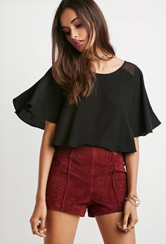 Flutter-Sleeved Boxy Top | Forever 21 - 2000142800