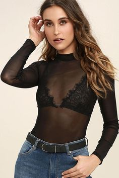 Get recognized as the sassy stylista you are with the Lulus I See You Black Mesh Bodysuit! Stretchy, sheer mesh is formed to a mock neck, long sleeves, and a sultry sheer bodice. Thong bottoms fasten via two snaps. Black Mesh Bodysuit, Sheer Bodysuit, Long Sleeve Bodysuit, Body Suit Outfits, Sexy Outfits, Cute Outfits, Casual Outfits, Girly Outfits, Fashion Outfits