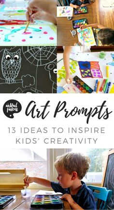 These 13 art prompts for kids will inspire their art-making and creativity differently than a blank piece of paper. This list includes drawing prompts, art games, printables, and other fun ideas. #kidsart #artsandcrafts #kidsactivities #artforkids #drawingforkids #drawing #paintingforkids via @The Artful Parent