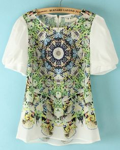 White Short Sleeve Back Zipper Totem Print Blouse US$23.23