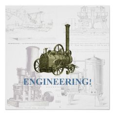 Engineering! Vintage steam engine illustrations Perfect Poster.