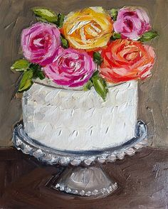 Cake with Roses Painting by DevinePaintings on Etsy, $88.00
