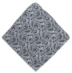Michelsons of London Black All Over Paisley Silk Pocket Square