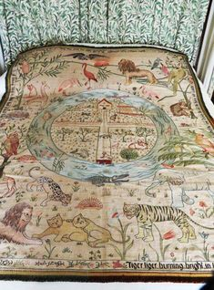 """May and Jane Morris, """"The Homestead and the Forest"""", cot quilt, 1900"""