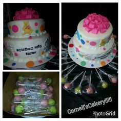 2 Tier Baby Shower Cake, Vanilla top with Strawberry bottom and Cake pop's.  Carnell'sCakery