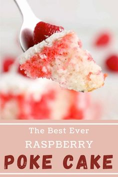 This Raspberry Poke Cake is a decadent dessert that will definitely impress your guests. The best part is that you only have to pick up a white cake mix, jello, and whipped topping. #raspberrypokecake #easypokecake Poke Cake Jello, Poke Cake Recipes, Incredible Recipes, Amazing Cakes, Fun Desserts, Delicious Desserts, Jello Flavors, Canned Frosting, Holiday Recipes