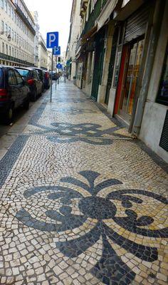 lisbon street tiles, cobble stone. portugal, lisbon