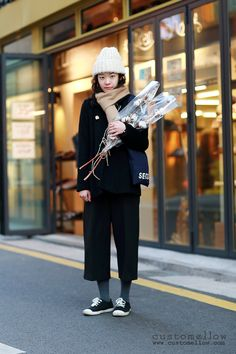 Korean street fashion with wide pants styling #OOTD