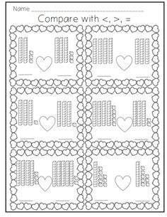 Comparing Numbers Valentine's Layout