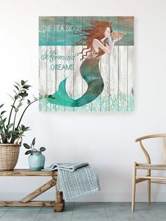 "Mermaid giclee #print on canvas 11/2"" stretchers. #mermaidart #walldecorart #wallart #coastalwallart #coastalprint #coastal #gicleeprint #mermaidprint #autism #autismawareness"