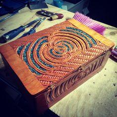 Contemporary Māori box, with pāua shell. Paua Shell, Shells, Contemporary, Box, Inspiration, Maori, Conch Shells, Biblical Inspiration, Snare Drum