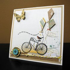 Fun bicycle card with cute kites Masculine Birthday Cards, Masculine Cards, Pretty Cards, Cute Cards, Bicycle Cards, Card Sentiments, Cricut Cards, Marianne Design, Butterfly Cards