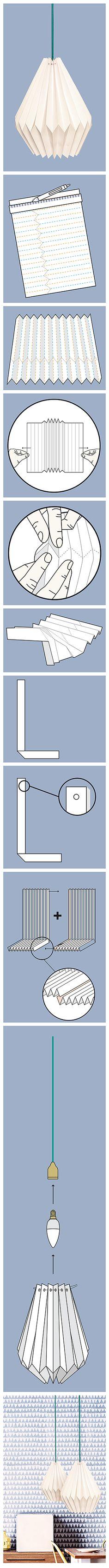 DIY Origami-Lampen: Ob für die eigenen vier Wände oder als Geschenk: Selbst gemachte Lampenschirme aus gefaltetem Papier sind hochmodern.  Die Anleitung gibt es auch in der aktuellen Ausgabe der ALDI inspiriert auf S. 48 (http://catalog.aldi.com/emag/de_DE/print/ALDI_inspiriert_0616_2/).