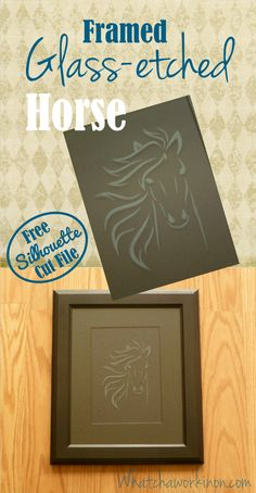 Make a framed horse etching with a free file and instructions from whatchaworkinon.com