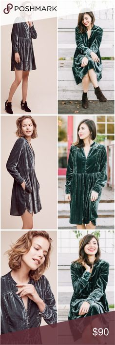 """Anthropologie Holding Horses Velvet Shirtdress NWT Velvet Shirtdress by Holding Horses Anthropologie ❤️see last pics for details. Color Green Size Large Bust 23.5"""" approx waist 20"""" approx. Brand New with tag Anthropologie Dresses"""