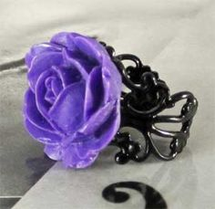 purple rose gothic black filigree ring. Update I've made one in black with filigree band. I do have purple roses but that's for another project.