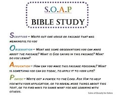 SOAP, Quick and easy Bible study method. i like how this uses SOAP, just like medical write ups! think of subjective, objective, assessment and plan! Soap Bible Study, Bible Study Tips, Bible Study Journal, Scripture Study, Bible Lessons, Bible Study Questions, Scripture Journal, The Words, Bible Scriptures
