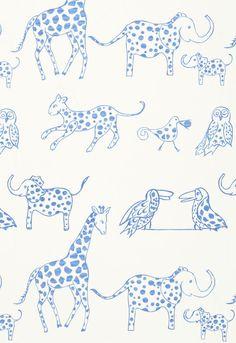 Love this fabric for a nursery, Lulu DK for Schumacher, Jungle Jubilee Nursery Wallpaper, Fabric Wallpaper, Wallpaper Jungle, Bathroom Wallpaper, Animal Wallpaper, Kid Friendly Wallpaper, New Blue, Blue And White, Tableaux D'inspiration
