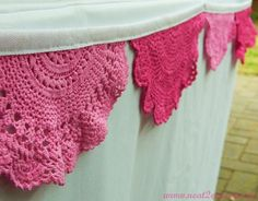 Pink doily bunting