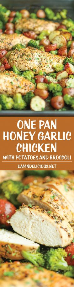 One Pan Honey Garlic Chicken and Veggies - Tender, juicy chicken breasts baked to perfection with potatoes and broccoli. All cooked on a single pan! EASY!