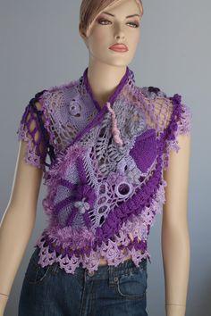 Lilac Violet  Freeform Crochet  Scarf Shawl / Wearable Art / OOAK. $175.00, via Etsy.