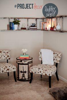 DIY vintage corner ladder book shelf // Fresh Mommy Blog