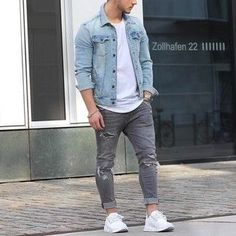 Light Blue Denim Jacket With Grey Jeans Sneaker Outfits, White Sneakers Outfit, Women's Sneakers, Denim Jacket Fashion, Denim Jacket Men, Estilo Jeans, Blue Denim Shirt, Moda Blog, Stylish Men