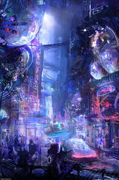 Knightfleo cyberpunk city environment concept art and design illustration