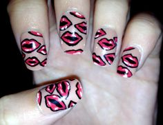 Kissing Red Lips Fake Nails by CompulsiveNails on Etsy, $7.00