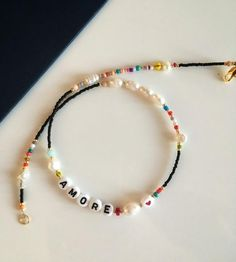 personalized letter necklace/letter bead necklace/beaded letter necklace/freshwaterpearl necklace/mix color and pearl necklace/friendship Geek Jewelry, Cute Jewelry, Beaded Jewelry, Jewelry Accessories, Jewelry Design, Beaded Bracelets, Embroidery Bracelets, Jewelry Bracelets, Fashion Jewelry